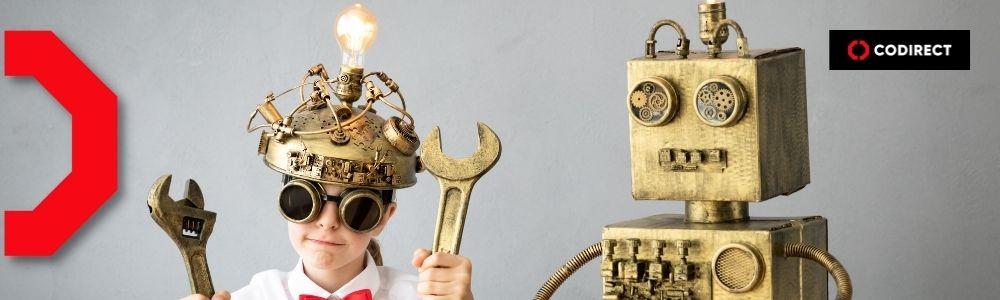 Criança e robô (representando o algoritmo do instagram